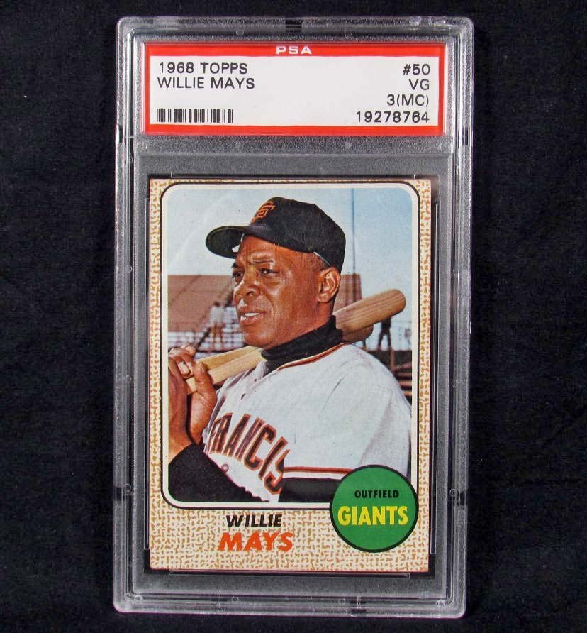 6: 1968 TOPPS WILLIE MAYS NO. 50 BASEBALL CARD - PSA VG