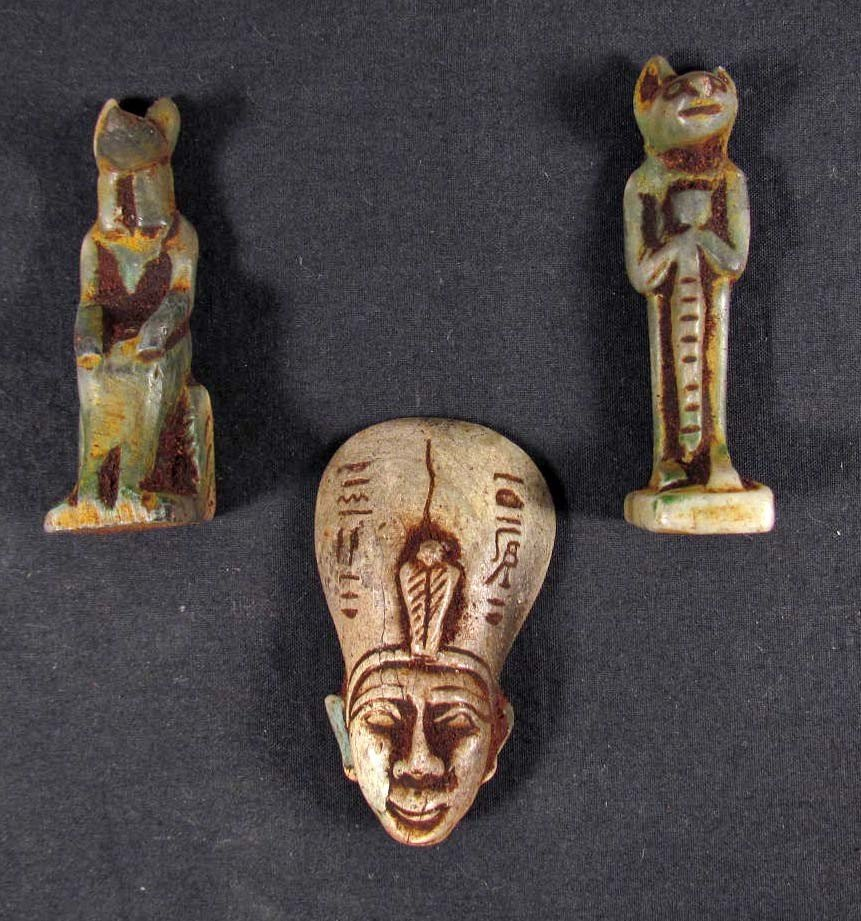9: LOT OF 3 EGYPTIAN PHARAONIC FIGURES