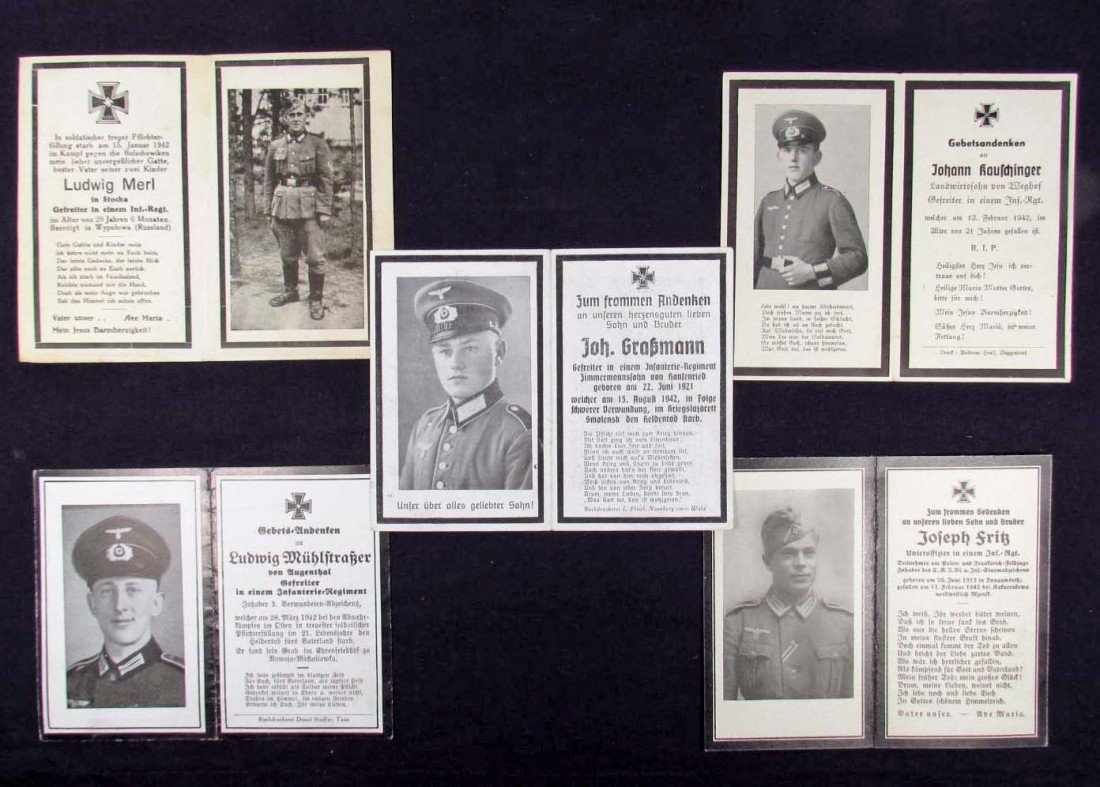 11: LOT OF 5 GERMAN NAZI ARMY SOLDIER DEATH CARD NOTICE