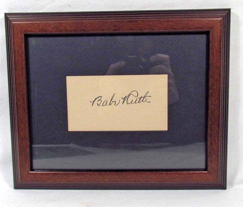 12: CUT SIGNATURE OF BABE RUTH - FRAMED W/ COA