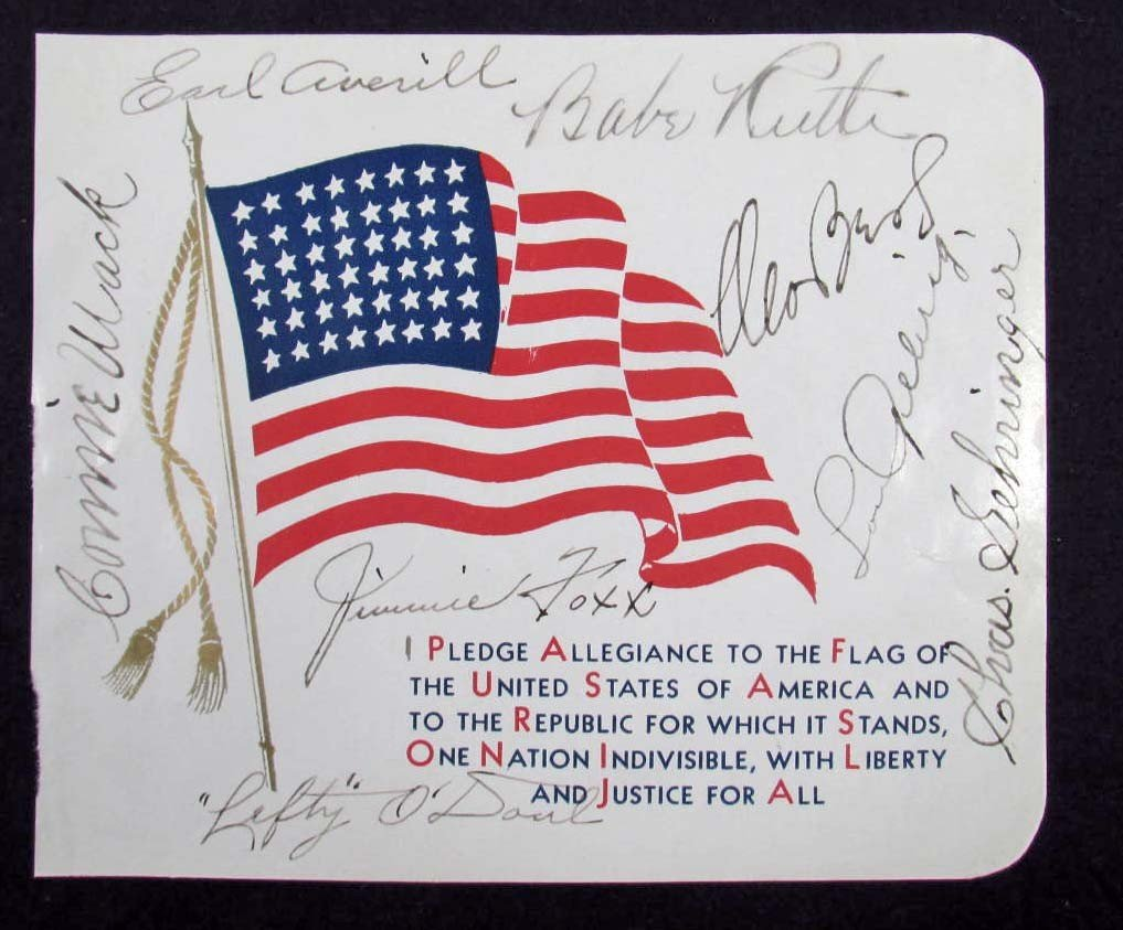 22: EIGHT BASEBALL ALL STARS AUTOGRAPHS INCL. BABE RUTH