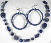 174 LAPIS AND BLUE LACE AGATE ESTATE JEWELRY SET W ST