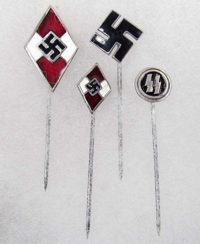 6: LOT OF 4 GERMAN NAZI ENAMELED STICK PINS