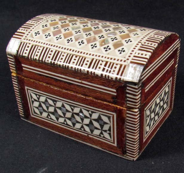 9: EGYPTIAN TREASURE CHEST - INLAID W/ MOTHER OF PEARL