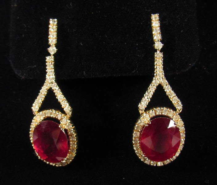 20: 69237 - PAIR OF 14K GOLD RUBY AND DIAMOND EARRINGS