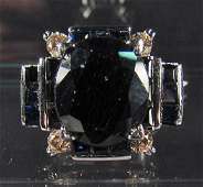 114 69205  STERLING SILVER LADIES SAPPHIRE AND DIAMON