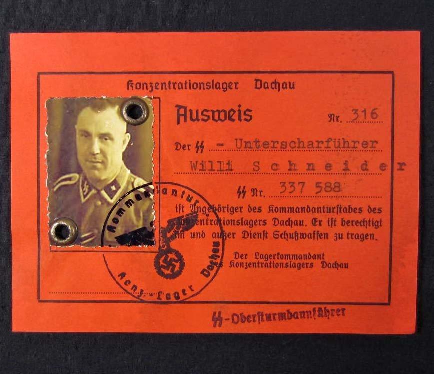 13: GERMAN NAZI GUARD DOCUMENT W/ PHOTO