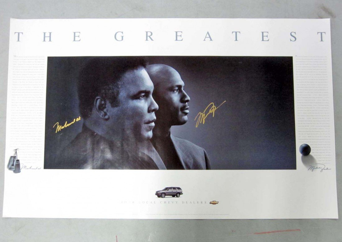 16: MICHAEL JORDAN AND MUHAMMAD ALI SIGNED POSTER W/ CO