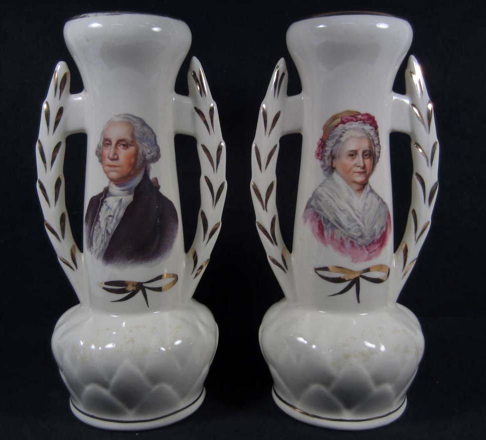 18: PAIR OF ANTIQUE GEORGE AND MARTHA WASHINGTON VASES