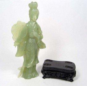 CARVED JADE WOMAN FIGURINE W/ STAND
