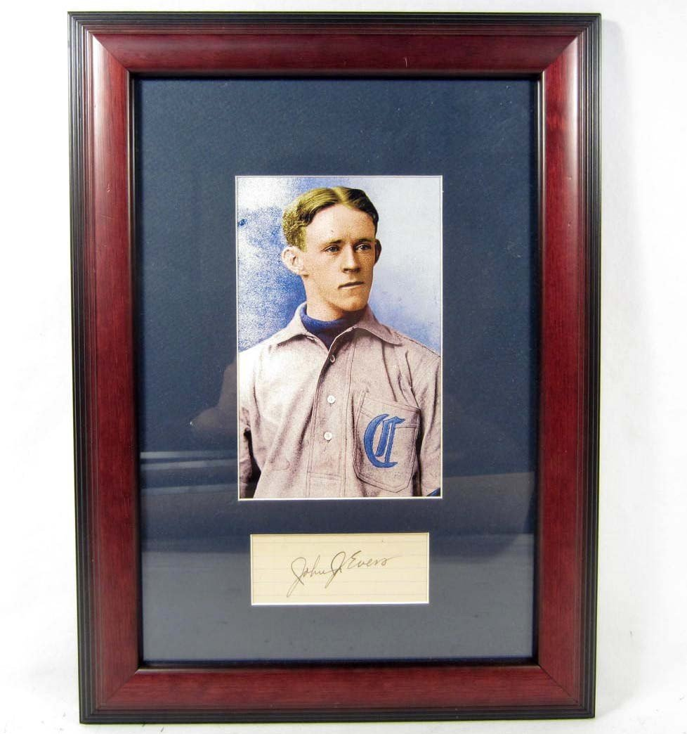 124: JOHNNY EVERS CUT SIGNATURE W/ PHOTO - FRAMED W/ CO