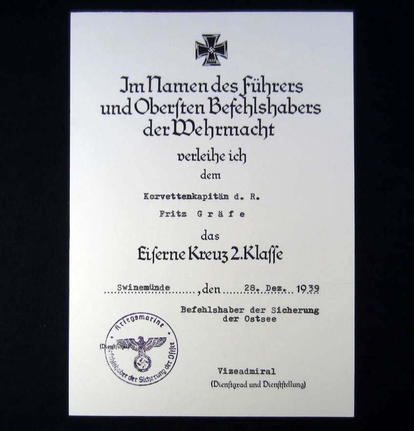 137: GERMAN NAZI 2ND CLASS IRON CROSS AWARD DOCUMENT