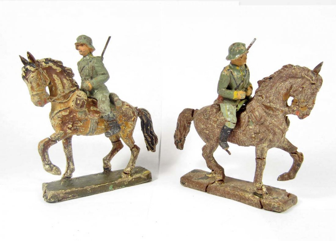 2: LOT OF 2 C. 1930'S GERMAN LINEOL TOY SOLDIERS ON HOR