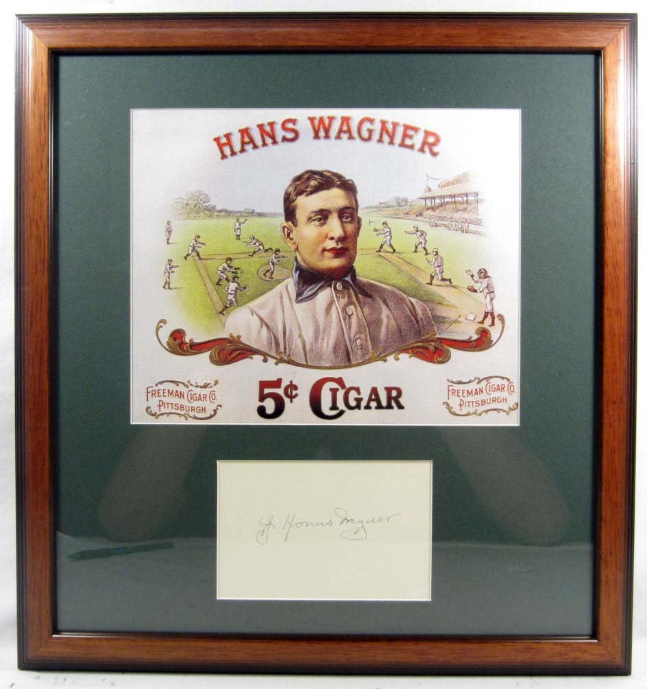 20: HONUS WAGNER CUT SIGNATURE W/ PICTURE - FRAMED W/ C
