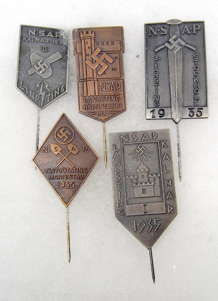 23: LOT OF 5 GERMAN NAZI SWEDISH POLITICAL PARTY STICK