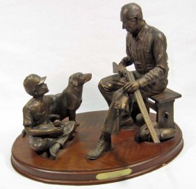 "BONDED BRONZE ""GRANDPA'S DOUBLE"" STATUE BY CODY HOU"