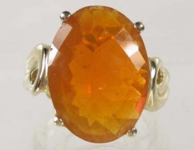 21: 14K GOLD LADIES FIRE OPAL RING - SIZE 7