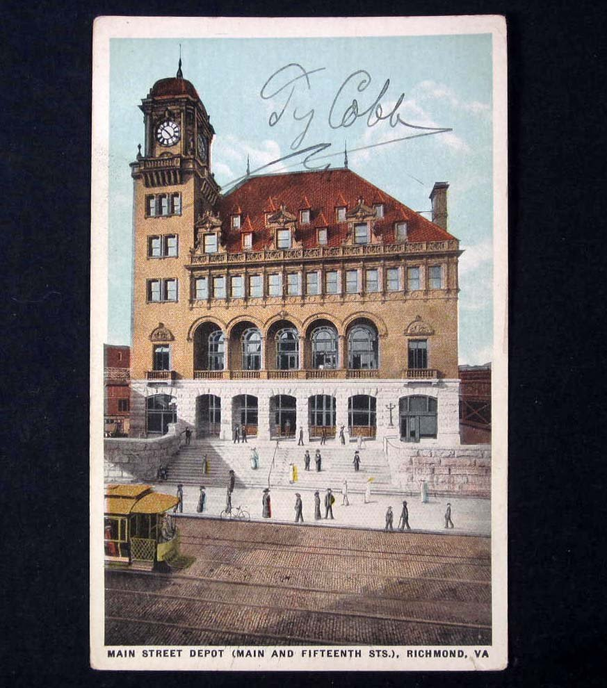 98: VINTAGE POSTCARD SIGNED BY TY COBB W/ COA