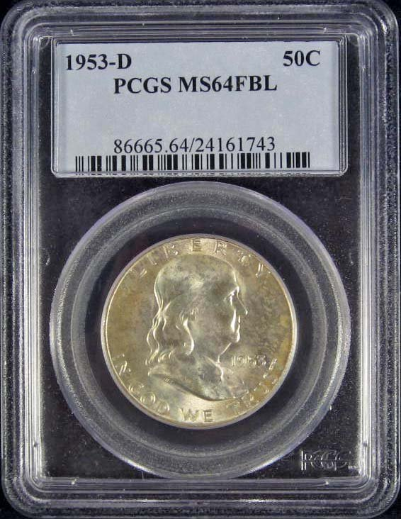 110: 1953-D FRANKLIN HALF DOLLAR - PCGS MS64 FBL
