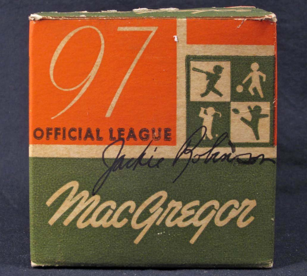 117: JACKIE ROBINSON SIGNATURE ON VINTAGE BASEBALL BOX