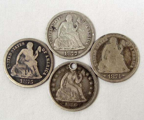122: LOT OF 4 SEATED LIBERTY DIMES