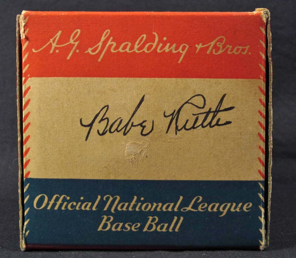 123: BABE RUTH SIGNATURE ON VINTAGE BASEBALL BOX W/ COA