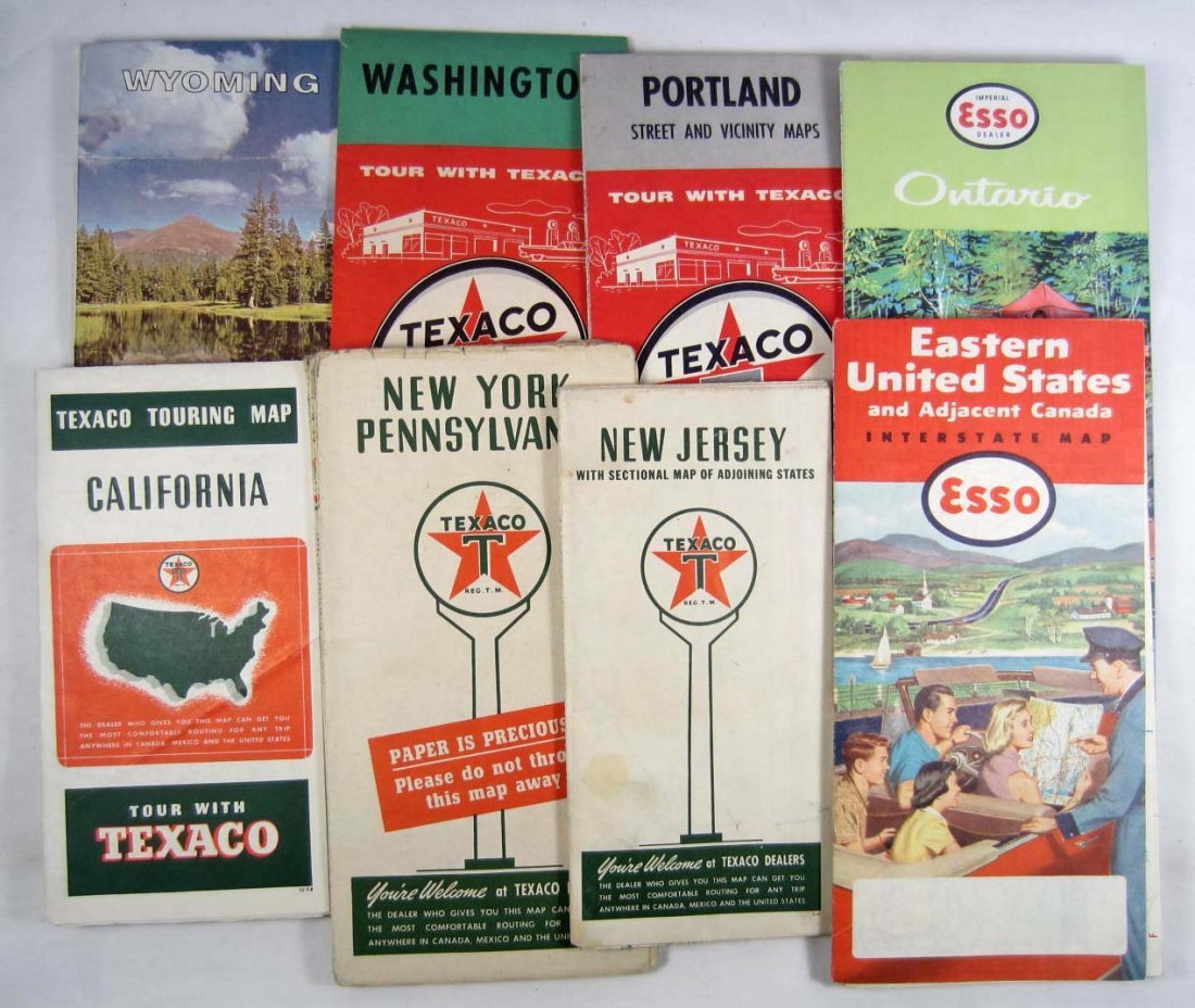 6: LOT OF 8 VINTAGE GAS AND OIL ADVERTISING ROAD MAPS -