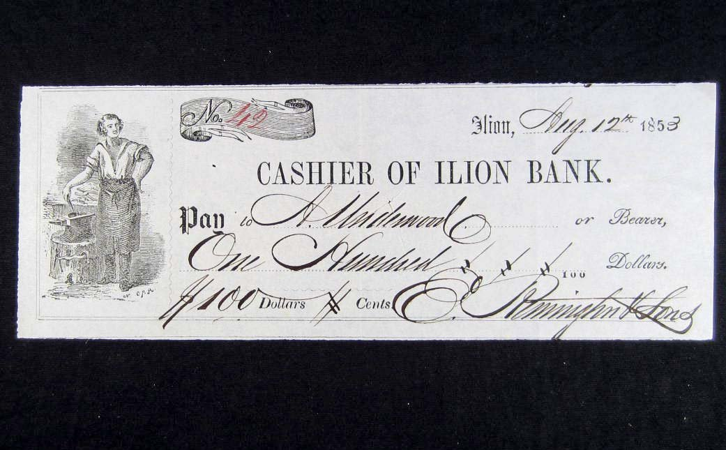 18: 1853 CHECK SIGNED BY ELIPHALET REMINGTON W/ COA