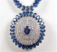 79 14K WHITE GOLD LADIES SAPPHIRE AND DIAMOND NECKLACE