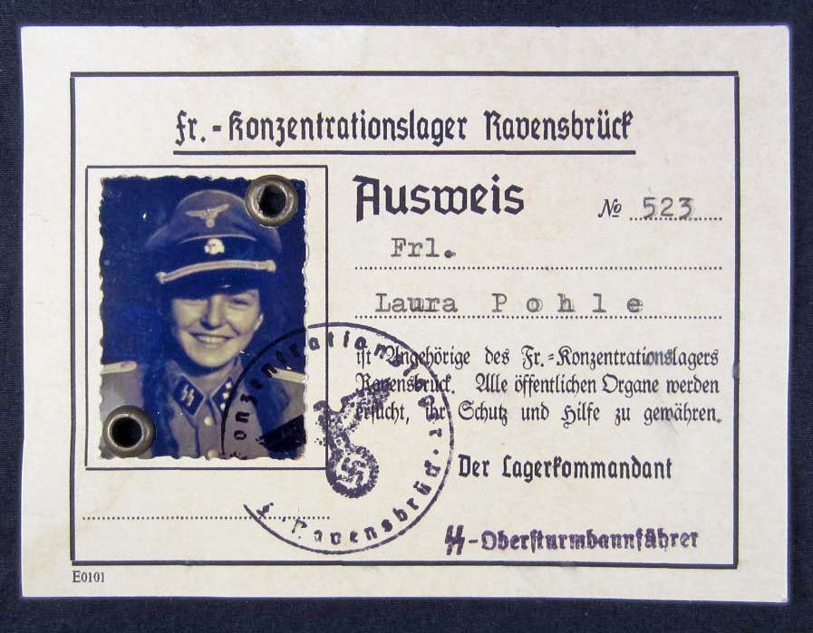 128: GERMAN NAZI AUSWEIS ID FEMALE GUARD FROM CONCENTRA