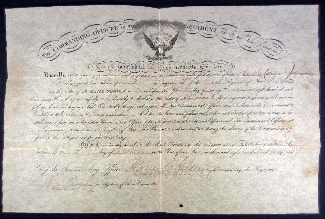 11: 1868 ONION SKIN DOCUMENT PROMOTING SOLDIER TO SERGE