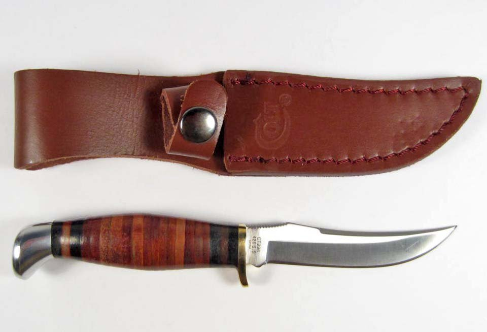 18: COLT HUNTING KNIFE W/ STACKED LEATHER HANDLE AND SH