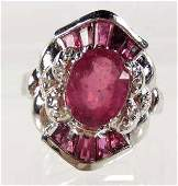 115 STERLING SILVER LADIES RUBY RING SIZE 7
