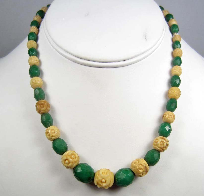 17: VINTAGE JADE & CARVED BONE NECKLACE