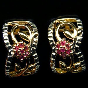 1: PAIR OF 14K GOLD PLATED RUBY AND STERLING SILVER EAR