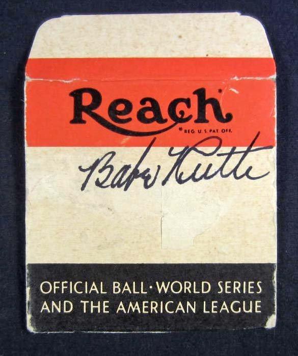 9: BABE RUTH AUTOGRAPHED REACH BASEBALL BOX TOP W/ AAU