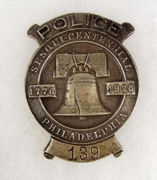 10: PHILADELPHIA SESQUI-CENTENNIAL #139 POLICE LAW BADG