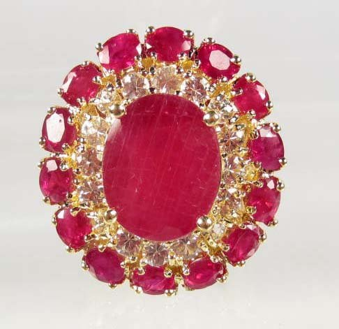 20: GOLD PLATED OVER STERLING SILVER LADIES RUBY AND SA