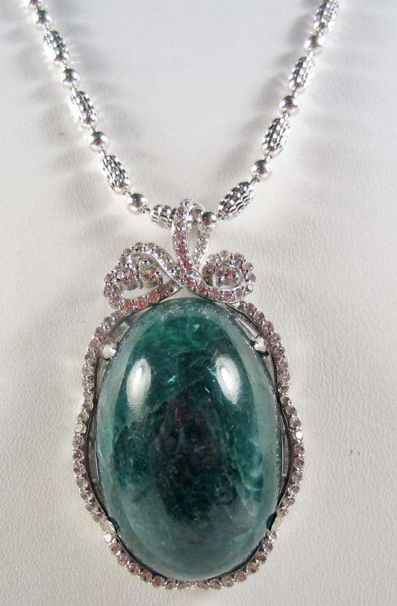 3A: STERLING SILVER EMERALD AND SAPPHIRE PENDANT W/ CHA