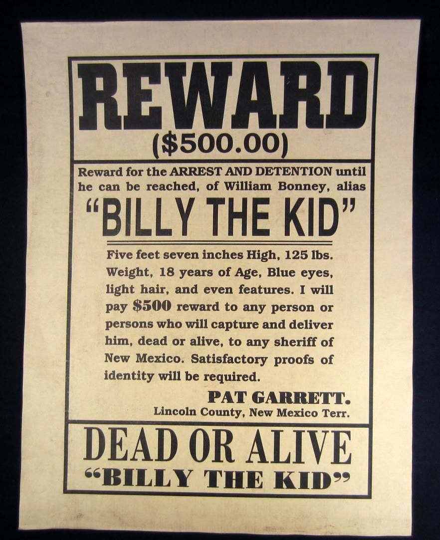 4: BILLY THE KID OUTLAW REWARD POSTER