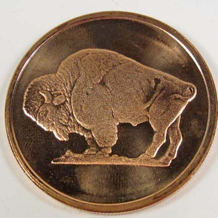 6: COPPER BUFFALO COIN - .999 FINE COPPER