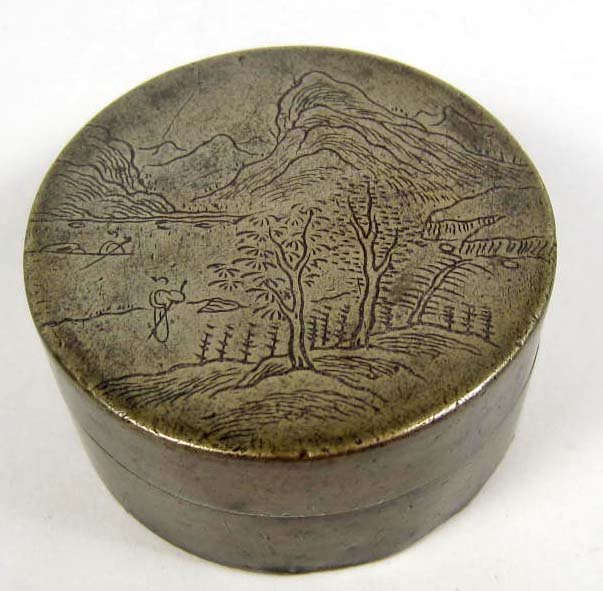 7: SMALL ROUND TRINKET BOX W/ COPPER BOTTOM AND ENGRAVE
