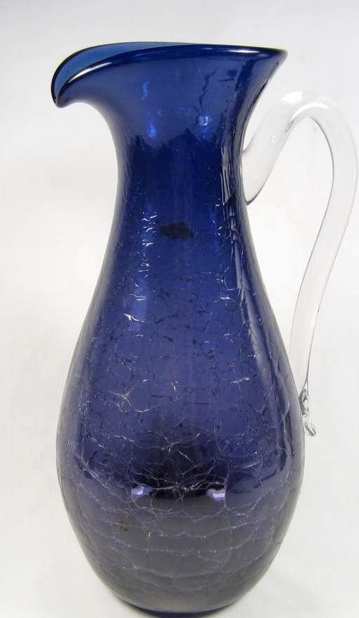 13: CRACKLED COBALT BLUE BLENKO GLASS PITCHER W/ CLEAR
