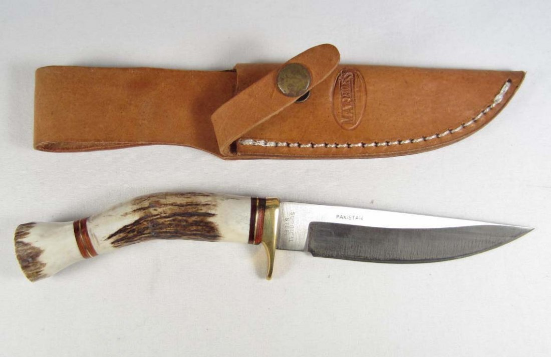 19: MARBLES HUNTING KNIFE W/ SHEATH & STAG HANDLE