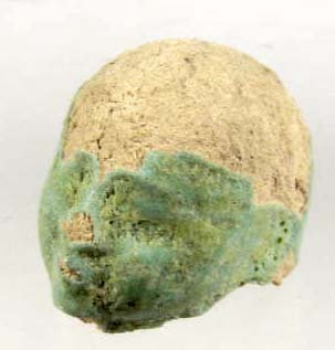 20: ANCIENT GREEN TERRA COTTA HEAD W/ BLUE GLAZE
