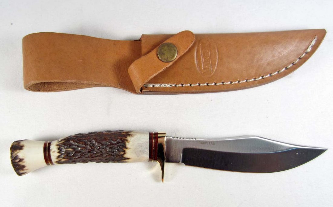 48: MARBLES HUNTING KNIFE W/ SHEATH  & STAG HANDLE