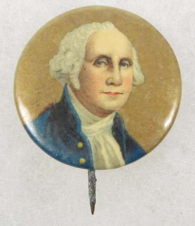 6: VINTAGE CELLULOID GEORGE WASHINGTON PIN BACK BUTTON