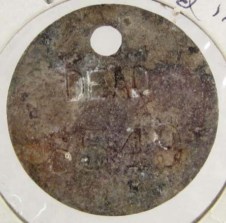 16: ANTIQUE SPANISH AMERICAN WAR DEAD TOE TAG TOKEN