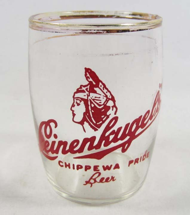 17: VINTAGE GLASS LEINENKUGELS BEER CUP W/ NATIVE AMERI