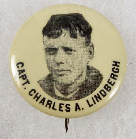 20: VINTAGE CELLULOID CHARLES LINDBERG PIN BACK BUTTON